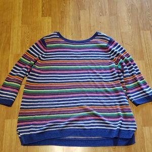 Talbots 100% linen plus size striped sweater 2X